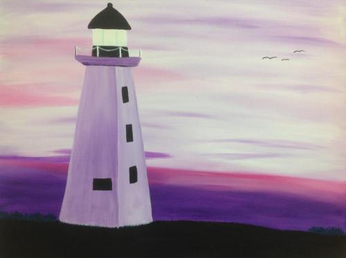 Pink Sunset Lighthouse